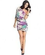 Nine West Petite Dress Sz 8P Purple Multi One Shoulder Blouson Cocktail dress