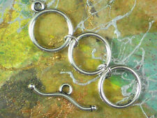 5 sets Extender Toggle Clasps Silver Tone 3 Round Rings Antiqued Closures #P222