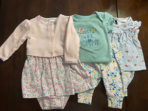 Lot Of 3 Infant Baby Girl Carters Outfits