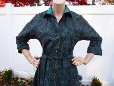 Vintage ANJAC By JACK NEEDLEMAN Shirt Dress TEAL/EGGPLANT/BROWN Flannel SIZE 6