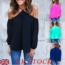 UK Womens Chiffon Halter Off Shoulder Tops T-shirt Long Sleeve Casual Blouses
