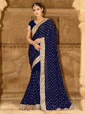 Designer embroidered work indian ethnic bollywood party wear designer saree