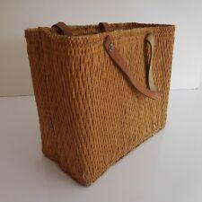 Sac ménagère ethnique rotin ficelle cuir 1930 1950 fait main vintage XXe PN