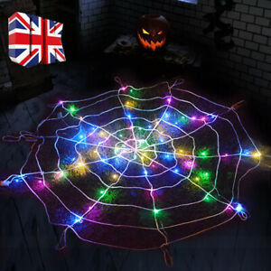 LED Halloween Decoration Giant Spider Web Party Props Decor Outdoor Fancy Dress