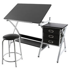 Drafting Table Art and Craft Drawing Desk Art Hobby Folding Adjustable w/Stool
