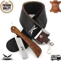 Straight Cut Throat Razor+ 7cm Wide Leather Strop Honing Sharpening Belt Brush
