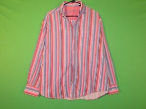 Bugatchi Uomo Men's Size M Medium Pink Striped Pocket Long Slv Button Shirt