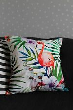 Tropical White Flamingo Cushion Cover. Leaves, Bird, Velvet, Luxury, Botanical