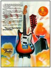 "Fender Guitars * POSTER * 24"" Music Store & Promo ad - 1976 Mustang Pro Reverb"