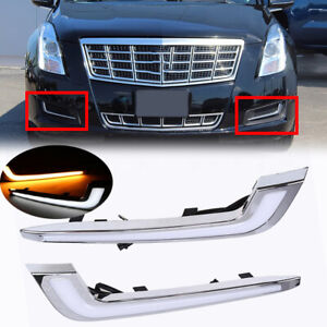 Pair LED Daytime Running Light Fog Turn Signal Lamps For Cadillac XTS 2013-2017