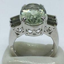 PREHNITE GEMSTONE RING, SIZE 6, 925 STERLING SILVER, 6 Moldavite baguette stones