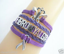 Butterfly FIBROMYALGIA Cancer Ribbon CANCER Awareness Charms Leather Bracelet