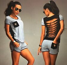 New womens summer holiday  top and shorts grey set open strap back size 12 -14