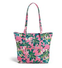 Vera Bradley Villager Tropical Paradise Pattern Pink Tote Carry Zip Top Bag NEW