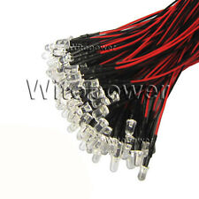 100x LED Prewired 3mm 5mm 10mm 5V 12V 24V Lamp White Warm Red Blue UV RGB Pink