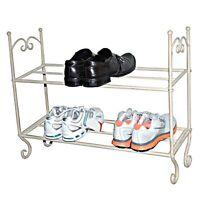G-0082 Vintage 2 Tier Cream Metal Shoe Rack Holder Organiser Storage
