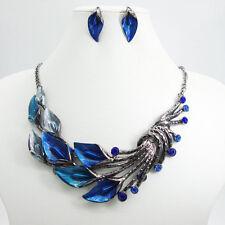 Vintage Art Deco Blue Morning Glory Rhinestone Crystal Necklace Earrings Set