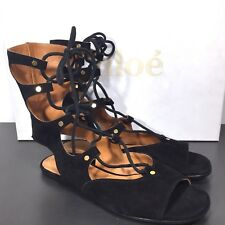 d07e01bc76c Chloe Womens LETTONIA Black Suede Leather Gladiator Flat Sandals 37 ( )