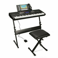 """Black Keyboard Piano """"Z"""" Stand Electric Organ Rack and Stool Bench Adjustable Us"""