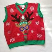 Merry Christmas Womens Size Xl Red Pullover Reindeer Sweater Vest Adorable UGLY