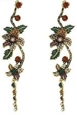 BNWT - ZARA Floral Multi-coloured Rhinestone Long Statement Earrings -9.7cm Long