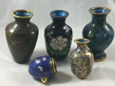 Lot Cloisonne Asian Chinese Vintage Small Miniature Floral Vases Doll House