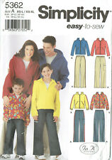 SIMPLICITY 5362 ~ CHILD, TEEN, ADULTS & HOODED SWEATSHIRT *EASY TO SEW* XS - XL