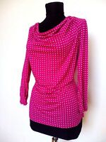 Talbots Top Blouse Magenta Pink Long Sleeve Polka Dot Cowl Neck Size S Rayon