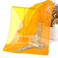 Foulard Echarpe Femme Mousseline Chouette Deux tons Orange et Jaune_MBBF689