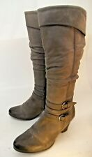 Tamaris Womens Boots Tall EU 37 Gray Leather Zip-Up Buckle Slouchy Heels 2393