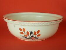 Homer Laughlin Kitchen Kraft Art Deco Leaf 8-In Mixing Bowl 1930s Black and Red
