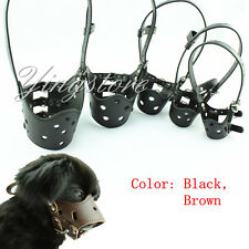 Adjustable Leather Dog Muzzle Pet Small large Size Soft Mouth Mask Prevent Bite