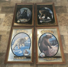 (Vtg) Hamms Beer Bear Wildlife Series Complete Set Of 4 Wood Frame Mirrors Bar