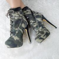 New Women Camouglage High Heel Lace Up Shoes Riding Knight Ankle Boots Plus Size