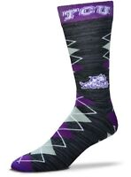TCU Horned Frogs NCAA Black Gray RMC Fan Nation Crew Socks