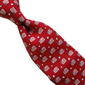 15A) NEW! Vineyard Vines Red US Flag and Stars 100% Silk Necktie Made in USA