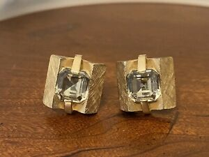 Vintage Swank Gold Tone Cufflinks White Rhinestone Rivoli Cabochon