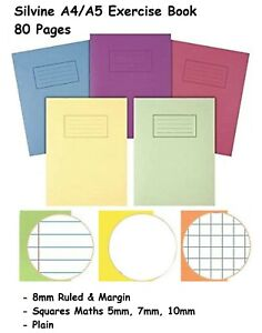 A4/A5 SILVINE Home Schooling School Exercise Books Notebooks Homework -80 Pages.