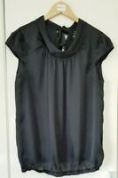River Island Women's Top Blouse Size 12 Black High Neck Smart Casual ShortSleeve