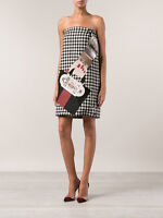 =PARTY= HOLLY FULTON $3492 Black White Houndstooth Embellished Bag Wool Dress XS