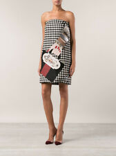=SUPER FUN= HOLLY FULTON $3492 Black Houndstooth Embellished Wool Skirt Dress XS