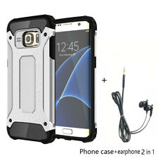 Case Shockproof Cover Protector + Earphone Set for Samsung Galaxy S7 Silver