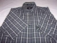 Beverly Hills Polo Club Button Front Short Sleeve Plaid Black Men's M Shirt