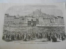 Cloture du Jubilé sur la place de Breuil au Puy Antique Old Print 1853