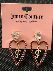 Juicy Couture Gold Tone Open Frame Heart Drop Earrings with JC Charm NWT