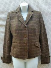 NEW J.Crew Schoolboy Wool Blazer Brown Pink Plaid Women's Medium Lined Career