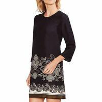 VINCE CAMUTO NEW Women's Elbow Sleeve Border-print Shift Dress TEDO