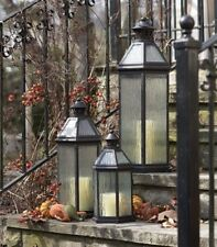 Set of 3 Large Octagon-Shaped Metal Candle Lanterns with Rippled Glass Panels