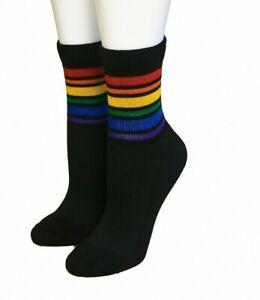 Pride Socks Men's Black Rainbow Crew Athletic Socks Brave
