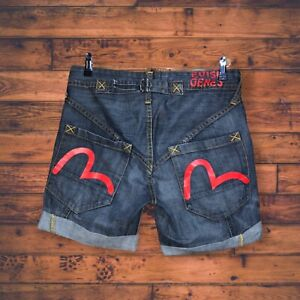 EVISU Mens Jeans Shorts SIZE W30 Denim EX CONDITION RARE RED GULL Vintage Japan